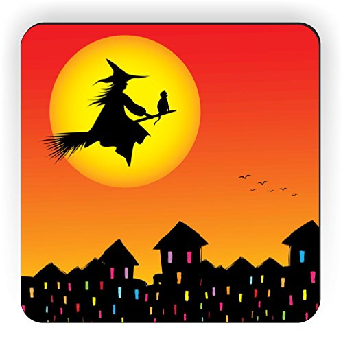 Rikki Knight Halloween Witch on Broomstick Silhouette Design Square Fridge Magnet]()