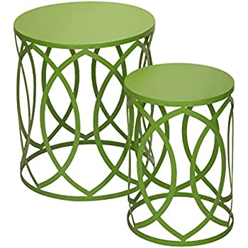 Adeco Accent Round Iron Nesting Tables/Stools (Set of 2), Khaki Green