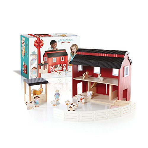 Guidecraft Big Wooden Red Barn With Play Characters and Animals Play Figures