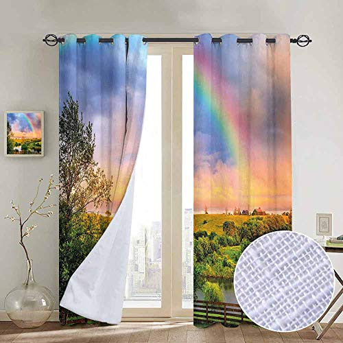NUOMANAN Window Curtain Fabric Rainbow,Kentucky Countyside with Lively Green Pastures River and a Rainbow,Hunter Green Multicolor,Rod Pocket Curtain Panels for Bedroom & Living Room 100