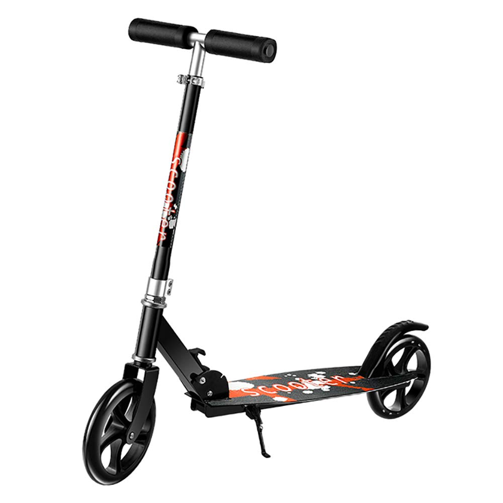 スクーター 大人/子供のためのスポーツスクーター、2ペダル調節可能な高さW /ワイドペダル、330ポンド容量 (色 : 黒) 黒