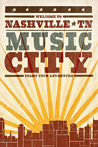 - Lantern Press Nashville, Tennessee - Skyline and Sunburst Screenprint Style (9x12 Art Print, Wall Decor Travel Poster)