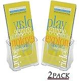 1InTheOffice Brochure Holder, Plastic Literature Holder, 4''W x 3''D''2 Pack''