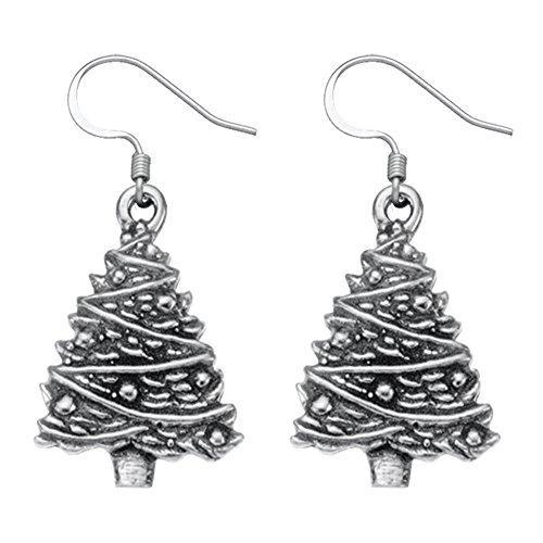Danforth - Christmas Tree Pewter Wire Earrings Wire Christmas Tree Earrings