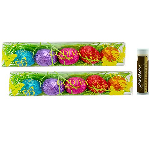 Jarosa Gift Set of Godiva Eggstra Special Easter Box Mni Foil-Wrapped Chocolate Eggs - Pack of 2 with a Jarosa Bee Organic Chocolate Bliss Lip Balm