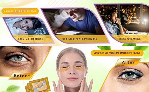 51pwhGoXeXL - Under Eye Patches, Eye Mask, Gold Under Eye Mask, Gold Eye Mask, Eye Pads, Collagen Eye Patch, JUYOU Eye Patch For Anti-wrinkles, Puffy Eyes, Dark Circles, Fine Lines Treatment (30Pairs 24k Gold)