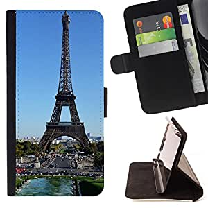 - Paris Eiffel Tower - - Prima caja de la PU billetera de cuero con ranuras para tarjetas, efectivo Compartimiento desmontable y correa para la mu?eca FOR Apple iPhone 6 6S 4.7 King case
