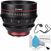 Canon CN-E 50mm T1.3 L F Cine Lens (International Model no Warranty) + Deluxe Cleaning Kit + Lens Cap Keeper 6AVE Bundle 2