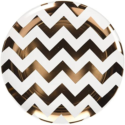 Amscan 7 1/2 Chevron Gold Premium Plates Children's Party, Rose Gold