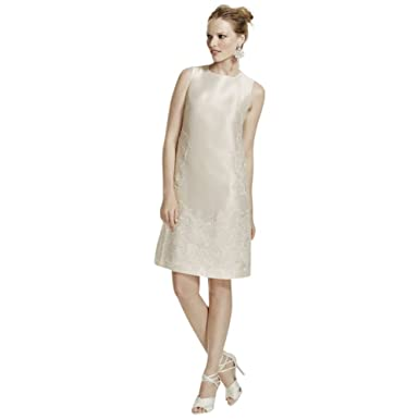 27346cb4 David's Bridal Short Mikado Dress with Sequined Lace Applique Style WG3706  at Amazon Women's Clothing store: