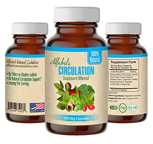 All Natural Circulation Support - 100 Veg Caps - 9 Super Herbs - Varicose Veins - Hemorrhoids - Witch Hazel, Horse Chestnut, Hawthorne Berry, Ginkgo Biloba, Gotu Kola, Encino, Calendula, Parsley
