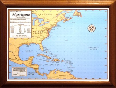photograph relating to Printable Hurricane Tracking Map known as Sealake Solutions Hurricane Monitoring Chart with dry erase pen (Framed)