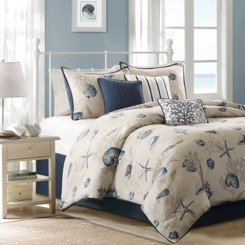 Madison Park Bayside Cal King Size Bed Comforter Set Bed In A Bag - Blue, Khaki, Seashells – 7 Pieces Bedding Sets – 100% Cotton Sateen Bedroom Comforters Nantucket 3 Piece Set