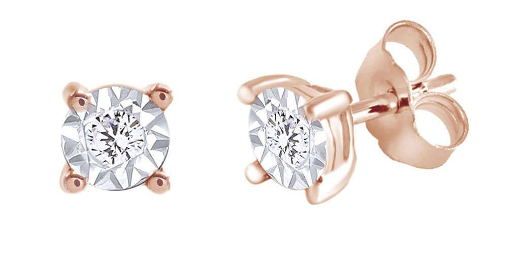 Round Cut White Natural Diamond Solitaire Stud Earrings In 14K Rose Gold Over Sterling Silver (0.1 Cttw)