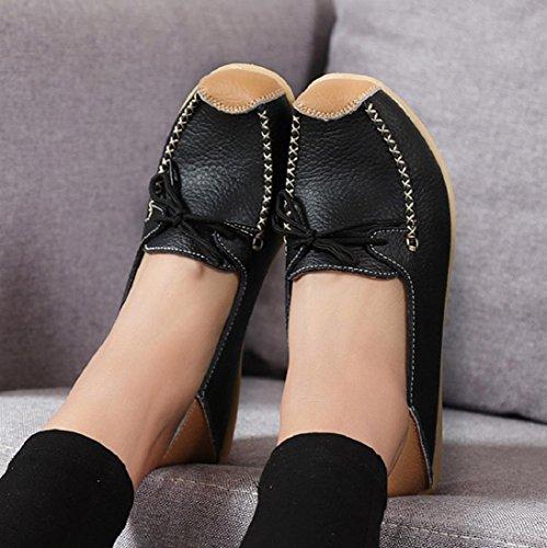 Femmes Décontracté À Lacets Mocassin Plat Respirant Fond Mou Sauvage Loisirs Slip-on Pois Bateau Chaussures Noir