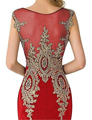 Babyonlinedress sirena vestidos del baile de la mujer cristales noche fiesta Rosso
