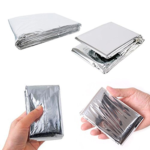 Leberna Emergency Foil Mylar Thermal Blankets 59 inches x 87 inches (Pack of 10) Double Sided Escape Tact Bivvy, Space Blankets Survival