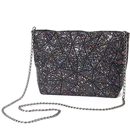 - Chiclinco Sparkly Rainbow Plaid Geometric Handbags Evening Clutch Crossbody Bag for Women (Black)