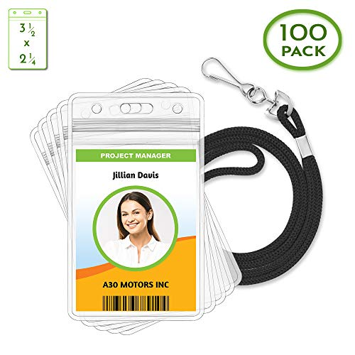 - Claev Vertical ID Badge Holder & Lanyard Set (100 Pack Standard, Black), Clear Waterproof Name Badge Holders & Soft Braided Lanyards