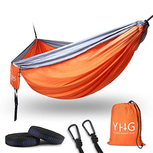 Double Hammock, Portable Camping Hammock with Reinforced D-Ring and Tree Straps, Durable Parachute Nylon Hammock for Outdoor Indoor Backpacking Travel Beach Garden Yard, 118