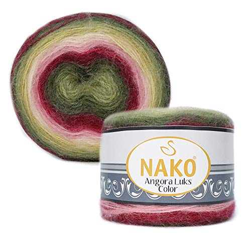 80% Acrylic, 5% Mohair, 15% Wool Yarn NAKO Angora LUKS Color Thread Crochet Lace Hand Knitting Yarn Art Embroidery Lot of 1 skn 150 gr 886 yds Color Gradient 81909