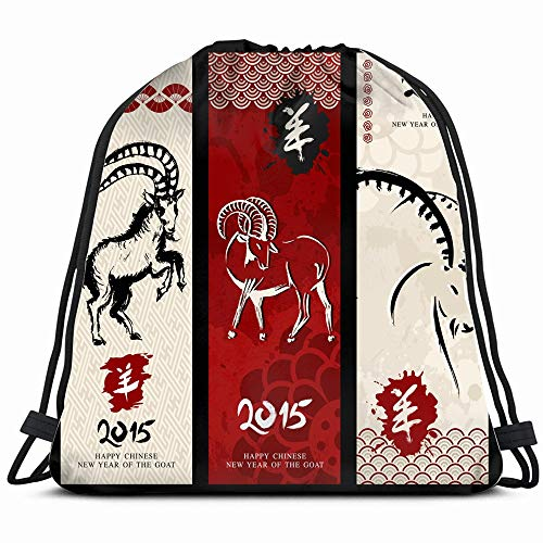 Chinese New Year Goat 2015 Vintage Animals Wildlife Holidays Drawstring Backpack Bag For Kids Boys Girls Teens Birthday, Gift String Bag Gym Cinch Sack For School And Party (Chinese New Year Of The Goat Or Sheep)