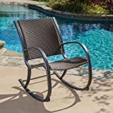 Cheap Christopher Knight Home Dark Brown Gracie's Outdoor Woven Resin Wicker Rocking Chair Aluminum Frame