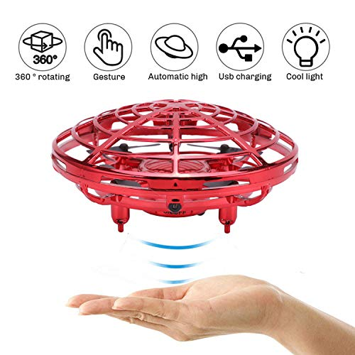 (Hand-Operated Mini Drone,USB Auto-Avoid Obstacles Quadcopter with 360°Rotating Helicopter Interactive Infrared Induction Helicopter Ball Suitable for Kids and Adults (Red))