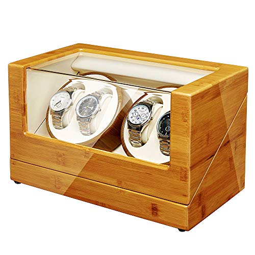 JQUEEN Watch Winder Box for Automatic Watches with Quiet Japanese Mabuchi Motor, Bamboo Wood Watch Box (4-Bamboo)