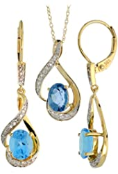 14k Gold Dangle Earrings (19mm tall) & 18 in. Pendant-Necklace Set, w/ 0.20 Carat Brilliant Cut Diamonds & 3.64 Carats Oval Cut (7x5mm) Blue Topaz Stones