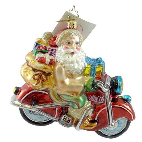 Christopher Radko BUCKSKIN BIKER Glass Ornament Santa (Biker Santa)