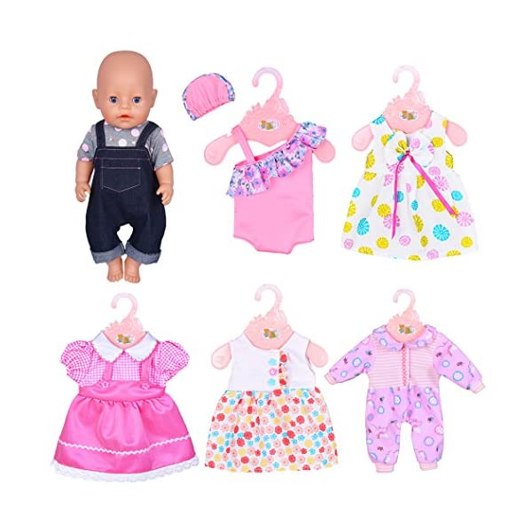 ebuddy 6 Sets Doll Clothes Outfits Costume for 14 to 16 Inch New Born Baby Dolls and 18 Inch American Girl