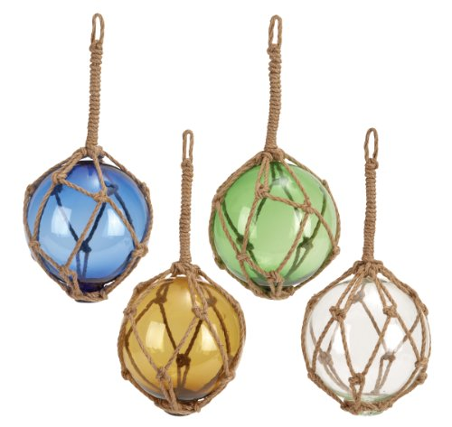 Benzara Glass Float with Rope 4 Assorted Unique Decor