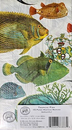 Michel Design Works Guest Towels Hostess Paper Napkins, Tropical Fish, 15 ct