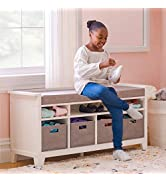 MARTHA STEWART Living and Learning Kids' Storage Bench - White: Wooden Toy and Book Organizer wit...