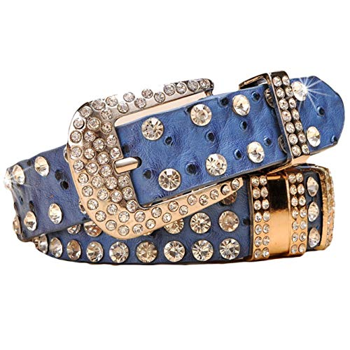 (Ayli Women's Sparkling Rhinestone Bling and Ostrich Skin Embossed Leather Jean Belt, Free Gift Box, Blue, Fits Waist 32