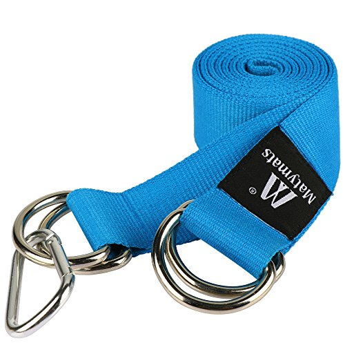 Matymats Cotton Yoga Strap 1.5'' × 6.5 ft Metal D-Ring Mat Carrier (Ring Cinch Belt)