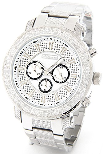 Watch Mens Chronograph SIlver Tone Case Metal Band ()