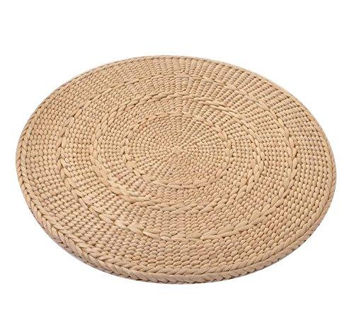 Japanese Style Hand Woven Tatami Floor Cushion Corn Maize Husk (D50cm/19.7'' x H2cm/0.78'') by MAHAO