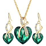 WYTong 2018 Fashion Jewelry Sets for Women Crystal Heart Pendant Necklace+Earrings (Green)