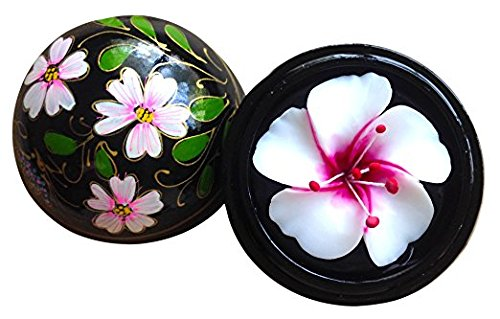 Thai Hand-Carved Soap Flower, 4 inch Scented Soap Carving, Japanese Sakura Cherry Blossom in Wood Orb, 4 inch