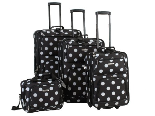Rockland Luggage Dots 4 Piece Luggage Set, Black Dots, One Size (Set Luggage Piece 4)