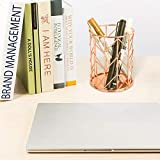 Rose Gold Wire Pencil Holder Container, Metal