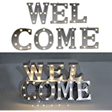"Decorative Illuminated Welcome Marquee Word Sign (Silver Color 4.21"" Tall) - Lighted Letter Words and Signs For For Indoor Outdoor Front Door Wedding Decor - WELCOME"