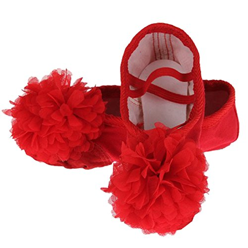 Feoya Chaussures de Ballet Ballerines Chaussons en Toile Ballet avec une Fleur pour Enfant Fille Femme Chaussure de Danse Ballet - Rouge - FR 39