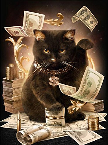 ZHENC 5D DIY Full Square Diamond Painting Money Black Lucky Cat Animals Embroidery Full Drill Craft Decor Cross Stitch Kits (Black Cat Stitch Cross)