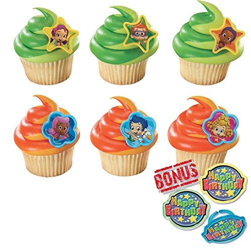 Bubble Guppies Gil, Molly and Gang Cupcake Toppers and Bonus Birthday Ring - 25 -