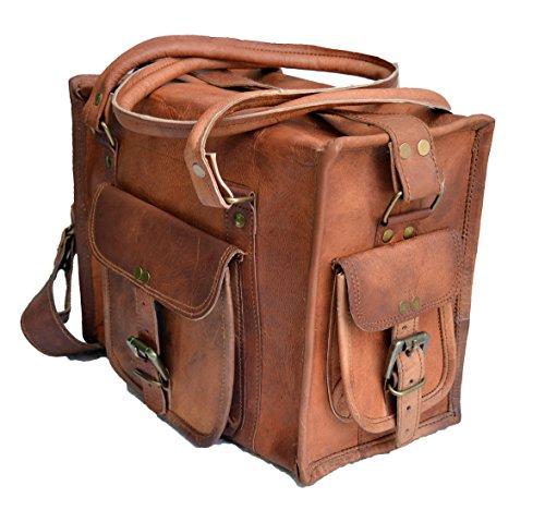 """12"""" Men's Women's Pure Genuine Leather Messenger Duffle Hand Purse Bag Satchel"""
