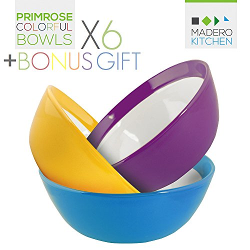 Primrose Colorful Bowls by Madero Kitchen - Set of 6 PREMIUM Ceramic Cereal, Breakfast Bowls - 6.2 Inches, 22 OZ - 100% Secure Packaging - BEAUTIFUL round DESIGN and DIFFERENT COLOURS! (Yellow Kitchen Bowl)