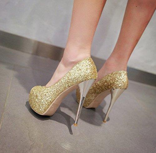 Transpirable Sexy finos elegante impermeable Pescado Solo Moda afilada Heel 16 39 39 Cabeza zapatos Sandalias los tacones Ajunr Plataforma Lentejuelas de cm de Boca Oro qZxEwvw